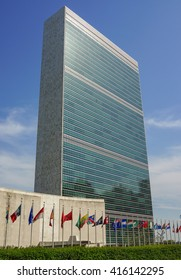New York, New York - 15 May 2013: The United Nations Headquarter Secretariat Building in Manhattan, New York.