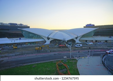 NEW YORK -17 NOV 2018- View of the landmark TWA Flight Center building designed by Eero Saarinen at the John F. Kennedy International Airport (JFK). It is being transformed into a hotel.