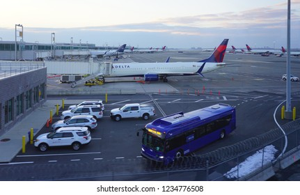 NEW YORK -17 NOV 2018- Airplanes from Delta Airlines (DL) at the John F. Kennedy International Airport (JFK). Delta is a member of the SkyTeam alliance.