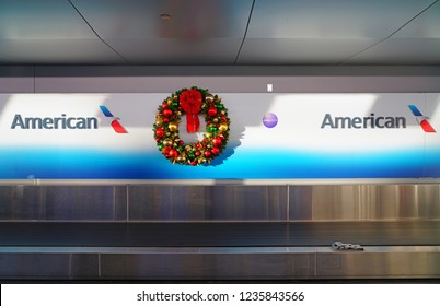 NEW YORK -17 NOV 2018- Christmas holiday decorations in the American Airlines (AA) terminal 8 at the John F. Kennedy International Airport (JFK).