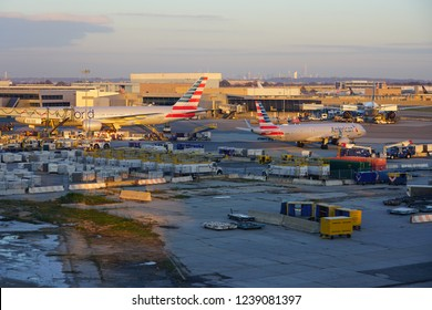 NEW YORK -17 NOV 2018-  Airplanes from American Airlines (AA) at the John F. Kennedy International Airport (JFK).