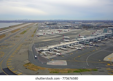 NEW YORK -18 NOV 2017-  Aerial view of airplanes on the tarmac and at the gate at the John F. Kennedy International Airport (JFK).