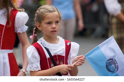 NEW YORK, NY—SEPTEMBER 20, 2014: German-Americans march up Fifth Avenue in New York's annual Steuben Parade, honoring a seminal figure in the American Revolutionary War, Friedrich von Steuben.