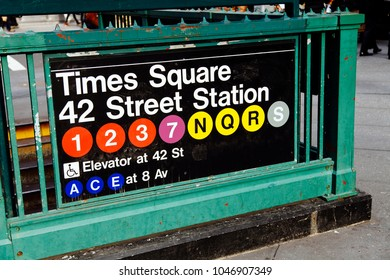 New York - 20 November, 2012: Sign depicting its the entrance to the 42 st. Times Square subway station in Manhattan, New-York.