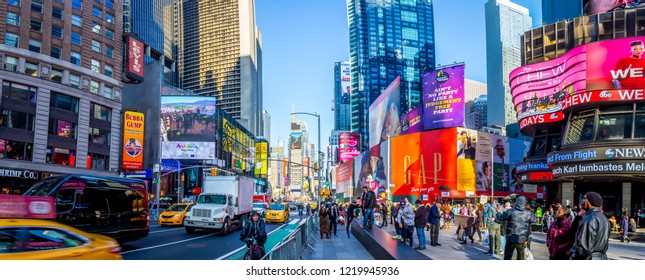 NEW YORK - 21 DECEMBER, 2016: Times Square, Featured with Broadway Theaters and Animated LED Signs, is a Symbol of New York City and the United States, Manhattan, New York City, USA