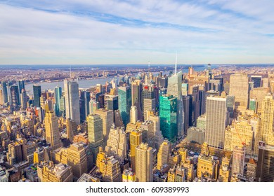 NEW YORK - 24 DECEMBER, 2016: Aerial View of Manhattan at Sunset Time, New York City