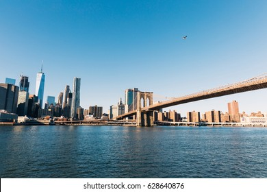 NEW YORK - 25 DECEMBER, 2016: Brooklyn Bridge in New York City, Panoramic View of Manhattan, Free Space for Text