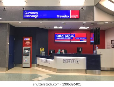 New York, 2/5/2019: Travelex currency exchange counter at JFK airport.
