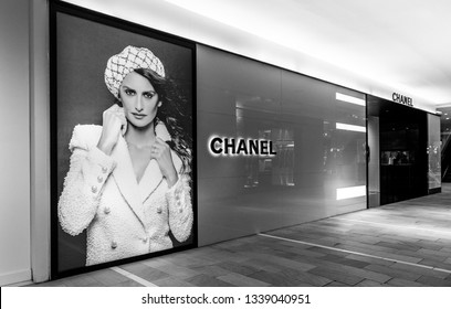 New York, 3/11/2019: Chanel advertisement on one of the floors of Bloomingdale's department store in Manhattan.