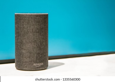 New York, 3/4/2019: Amazon Echo stands on display at Amazon Books store in Manhattan.