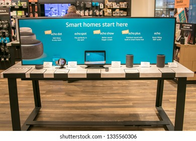 New York, 3/4/2019: Different Amazon Echo units are put on display at Amazon Books store in Manhattan.