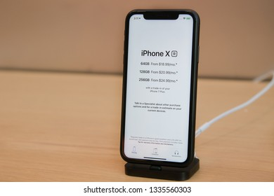 New York, 3/4/2019: iPhone X stands on display in an Apple store in Manhattan.