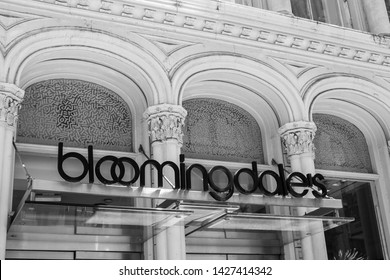New York, 6/15/2019: Store sign is set above the enrance to the SoHo location of Bloomindale's.