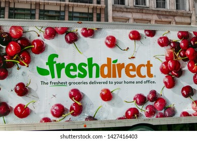 New York, 6/15/2019: View of a Fresh Direct food delivery truck on its route.