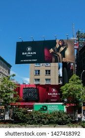 New York, 6/15/2019: View of a large Balmain store advertisement as seen from Houston Street.