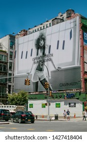New York, 6/15/2019: View of a large Calvin Klein billboard set up on a side of a building along Houston Street.