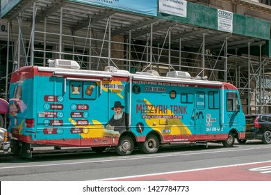 """New York, 6/15/2019: West Village Jewish Center's mobile unit, called """"Mitzvah Tank"""" is parked in SoHo."""