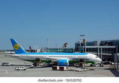 NEW YORK -9 JUL 2017-  View of a Boeing 787 airplane from Uzbekistan Airways (HY) at the John F. Kennedy International Airport (JFK).