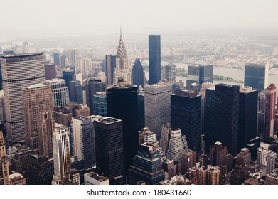 New York from above. New York City Skyline Aerial View Vintage color. NYC roofs aerial Photo.