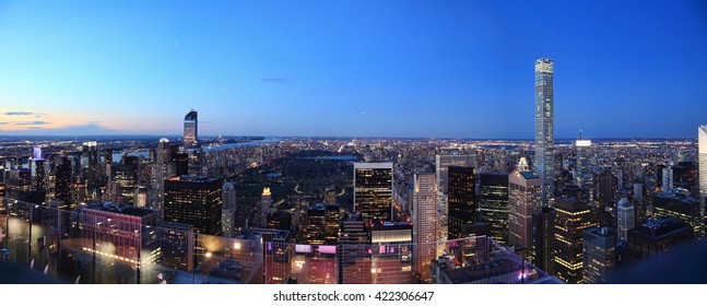 New York: aerial panorama at night