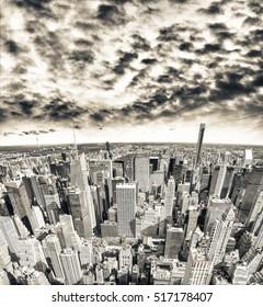 New York aerial skyline at dusk.