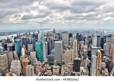 New York aerial view - Midtown Manhattan cityscape on cloudy day.