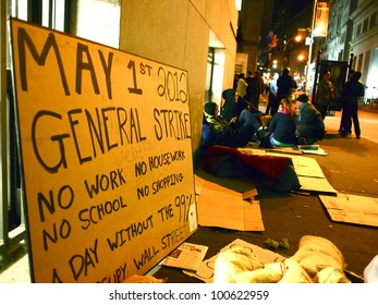 """NEW YORK - APR 12: A """"General Strike"""" sign made by Occupy Wall Street demonstrators leans against a building April 12, 2012 in New York City, NY. Protesters planned a major action for May 1."""