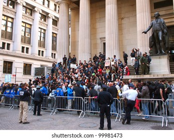 NEW YORK - APR 13: Occupy Wall Street activists hold a rally at Federal Hall April 13, 2012 in New York City, NY. Protesters continued their months-long demonstration against the financial system.