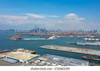 New York - Apr 25, 2020: New York City skyline as seen from Sunset Park in Brooklyn, New York.