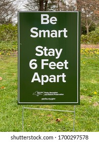 New York - Apr 5, 2020: Sign for Social Distancing in a New York park during the Coronavirus epidemic.