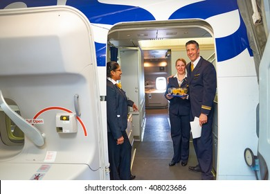 NEW YORK - APRIL 06, 2016: Lufthansa crew members on board of Boeing 747-400.  Lufthansa is a German airline and, when combined with its subsidiaries, the largest airline in Europe.