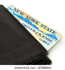 NEW YORK - APRIL 10, 2014: New York State driver license in wallet. The number of young drivers increases in NY State.