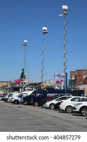 NEW YORK - APRIL 10, 2016: Numerous TV stations covers presidential candidate Bernie Sanders rally at iconic Coney Island boardwalk in Brooklyn, New York