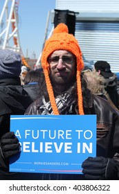 NEW YORK - APRIL 10, 2016:Bernie Sanders supporter during presidential candidate Bernie Sanders rally  at iconic Coney Island boardwalk in Brooklyn, New York