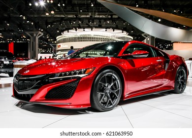 NEW YORK- APRIL 12: Acura NSX shown at the New York International Auto Show 2017, at the Jacob Javits Center. This was Press Preview Day One of NYIAS, on April 12, 2017 in New York City