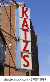 NEW YORK  - APRIL 14, 2015: Sign for the historical Katz's Delicatessen (est. 1888), a famous restaurant, known for its Pastrami sandwiches in Lower East Side in Manhattan