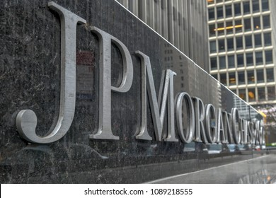 New York - April 14, 2018: The corporate sign in front of the JP Morgan Chase & Co office building on Park Avenue in New York City.