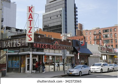 NEW YORK - APRIL 16, 2015: Historical Katz's Delicatessen (est. 1888), a famous restaurant, known for its Pastrami sandwiches in Lower East Side in Manhattan