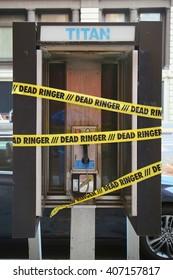 NEW YORK - APRIL 17, 2016: Old street phone in Lower Manhattan, New York