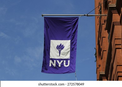 NEW YORK - APRIL 18, 2015: NYU flag on historic Puck Building  at Wagner Graduate School of Public Service in Lower Manhattan