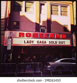 NEW YORK - APRIL 2014:  Lady Gaga exterior poster at Roseland Ballroom in New York City on April 6, 2014. Gaga performed the final shows before Roseland officially closed.