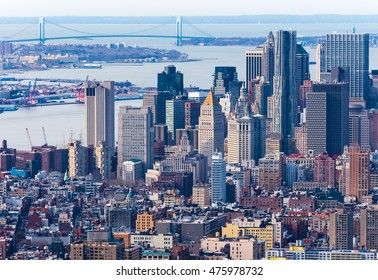 New York - April of 2015, USA:  Aerial view of Manhattan skyscrapers, downtown and Verrazano Narrows bridge