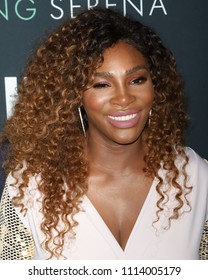 "NEW YORK - APRIL 25, 2018: Serena Williams attends the premiere of ""Being Serena"" at the Time Warner Center on April 25, 2018, in New York City."