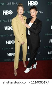 """NEW YORK - APRIL 25, 2018: Gigi Hadid and Bella Hadid attend the premiere of """"Being Serena"""" at the Time Warner Center on April 25, 2018, in New York City."""