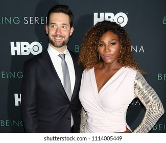 """NEW YORK - APRIL 25, 2018: Serena Williams and Alexis Ohanian attend the premiere of """"Being Serena"""" at the Time Warner Center on April 25, 2018, in New York City."""