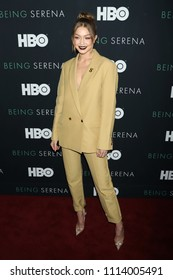 """NEW YORK - APRIL 25, 2018: Gigi Hadid attends the premiere of """"Being Serena"""" at the Time Warner Center on April 25, 2018, in New York City."""