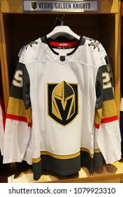 NEW YORK - APRIL 26, 2018: The Vegas Golden Knights jersey on display at NHL store in Midtown Manhattan. The Vegas Golden Knights are a professional ice hockey team based in the Las Vegas metropolis