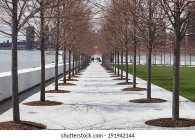 NEW YORK - APRIL 27: Four Freedoms Park on April 27, 2014 in New York. Four Freedoms Park is a memorial to Franklin D. Roosevelt celebrating his 1941 State of the Union address.