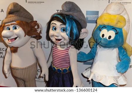 new york april 27 smurf characters stock photo edit now 136600124