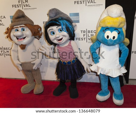 new york april 27 smurf characters stock photo edit now 136648079